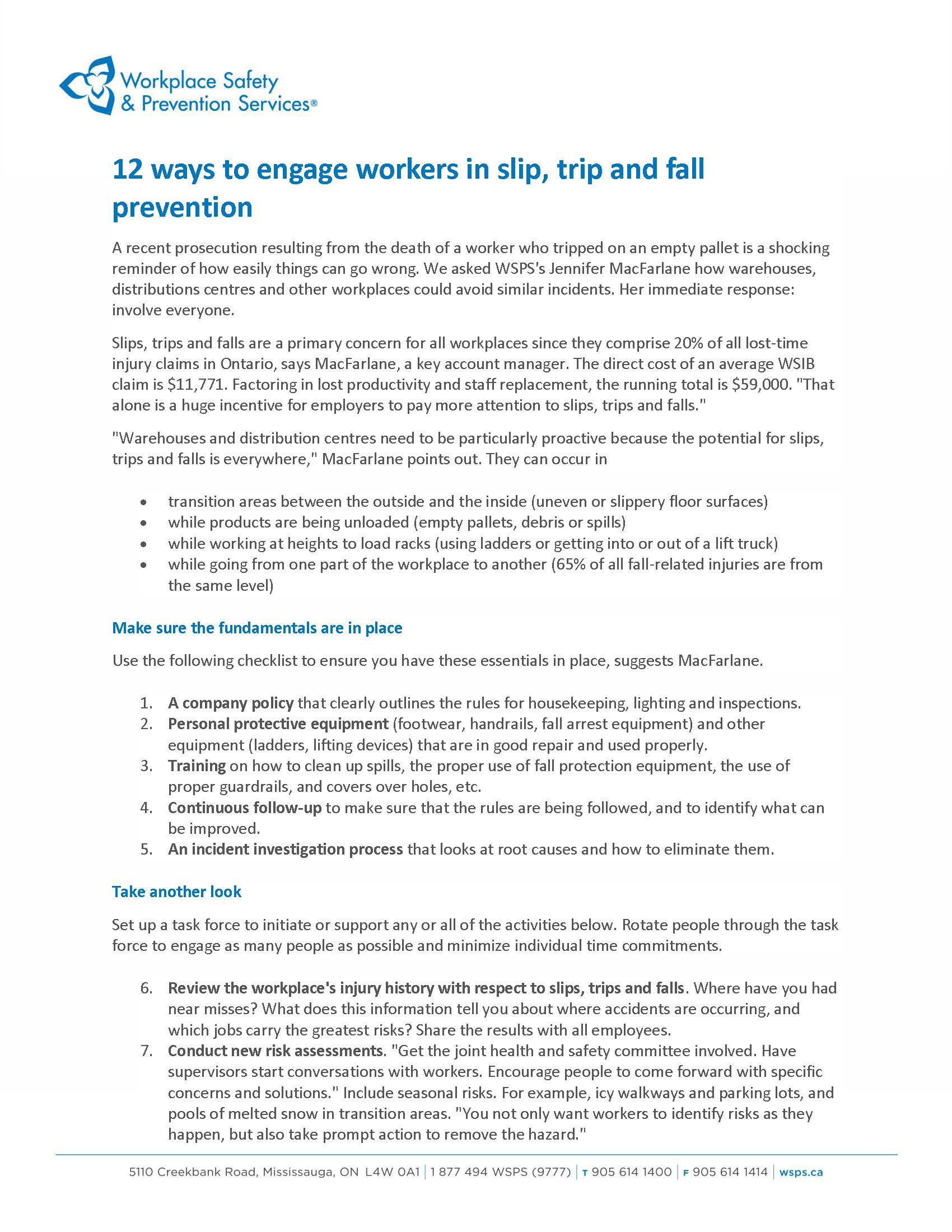 12 WAYS TO ENGAGE WORKERS ON SLIPS, TRIPS & FALLS