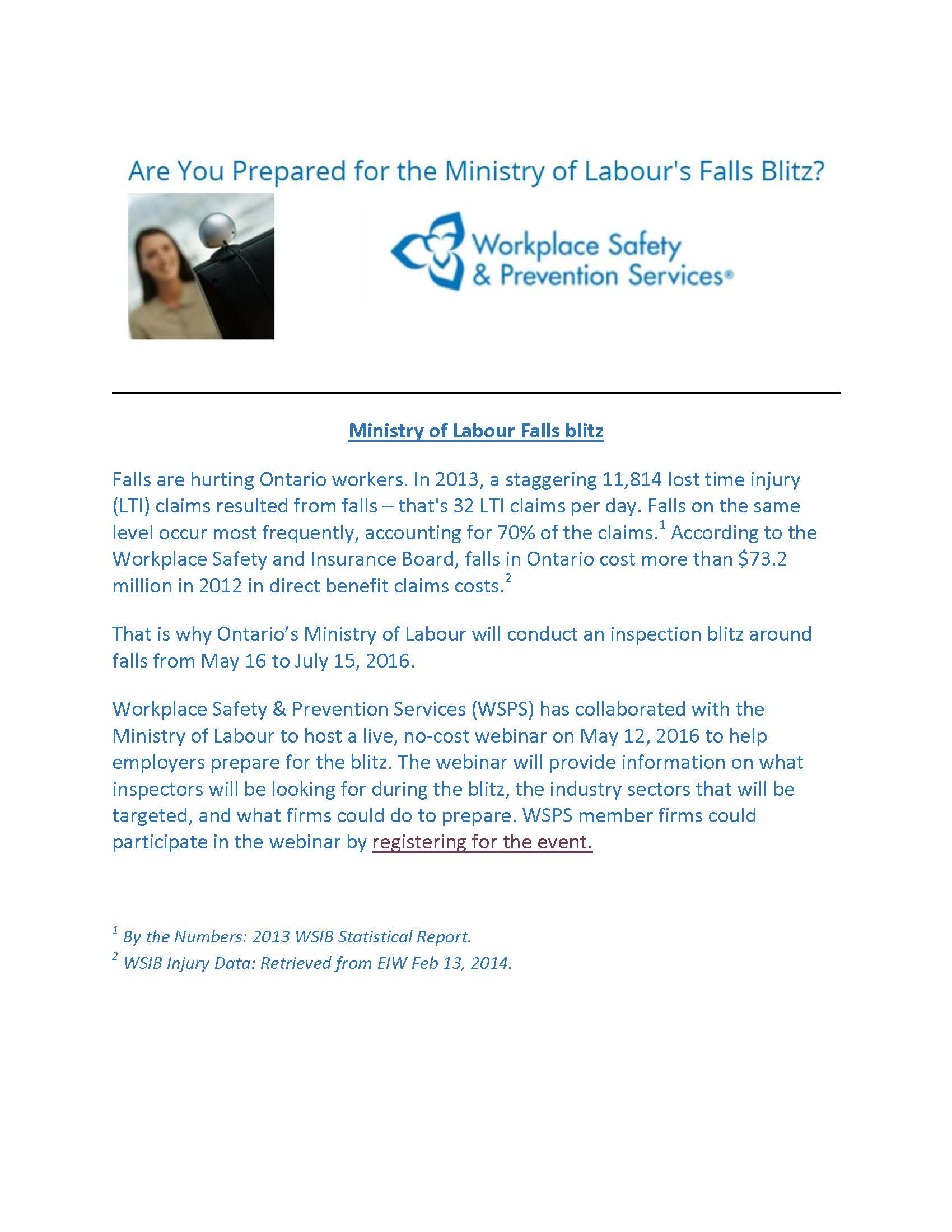 MINISTRY OF LABOUR'S FALLS BLITZ