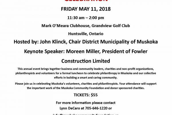2018 Smart & Caring Muskoka Celebration Invitation