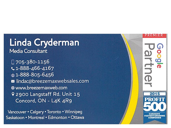 Linda Cryderman Business Card