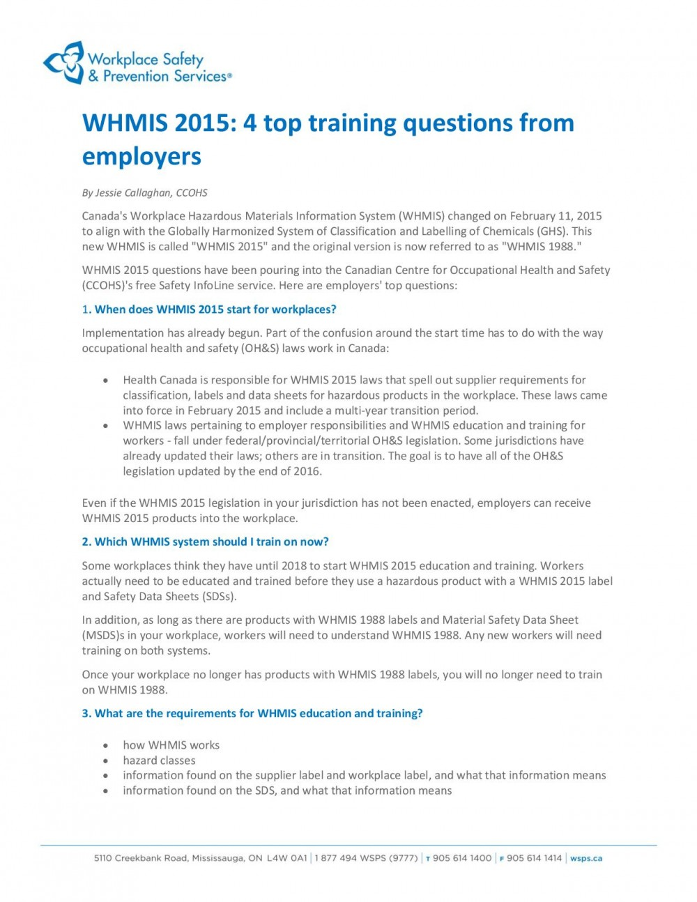 CHANGES TO WHMIS