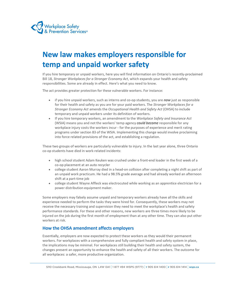 TEMP OR UNPAID WORKER SAFETY